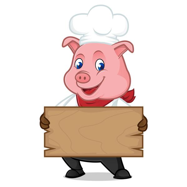 Schwein plank koch Holz cartoon