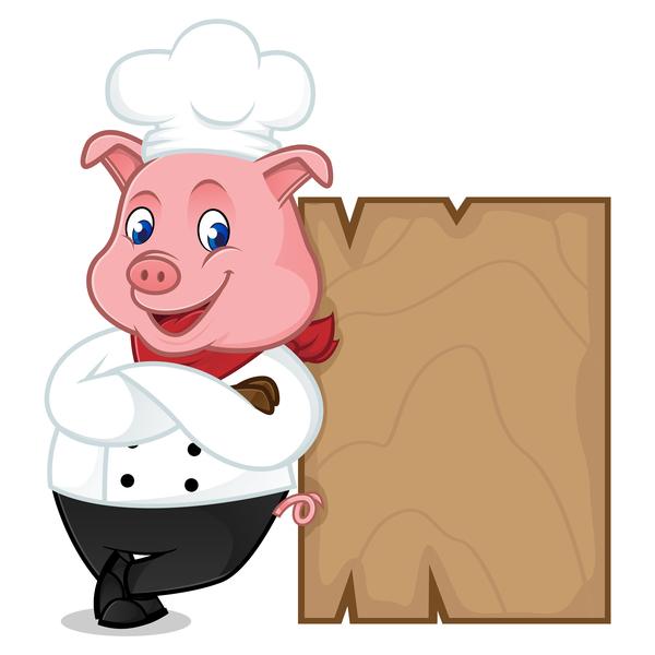 plank maiale in legno chef cartoni animati
