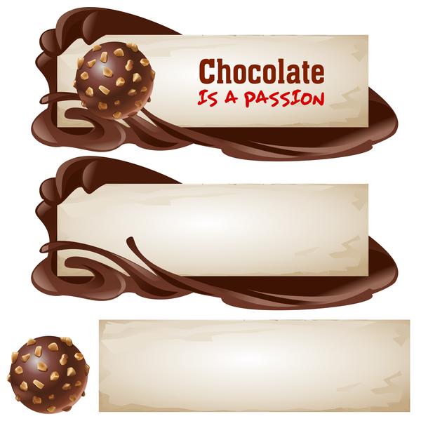polices rétro des bannières chocolat