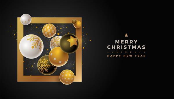 Weihnachten Schwarz Neu Jahr ball