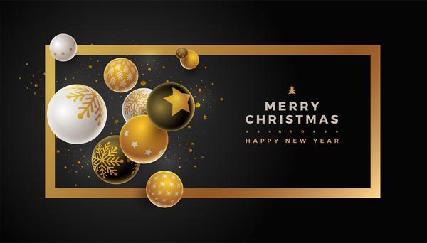 Svart nytt år jul boll