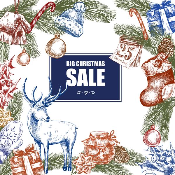 Weihnachten Verkauf hand gros gezeichnet farbig