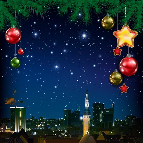 panorama kort jul hälsning Gren furu city blå