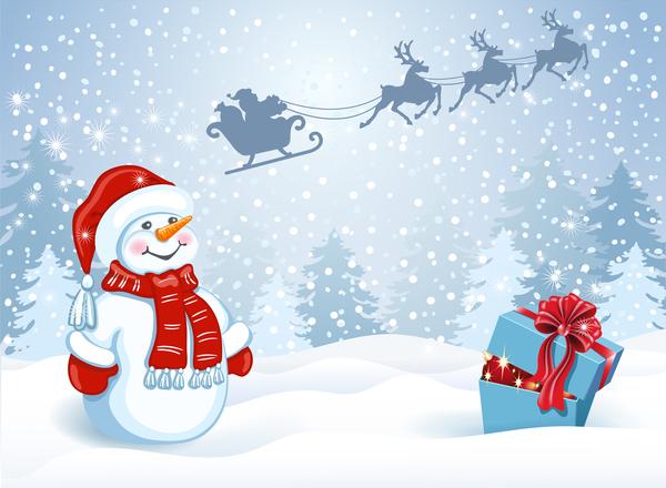 、クリスマス、可愛い、ギフト ボックス、雪だるま
