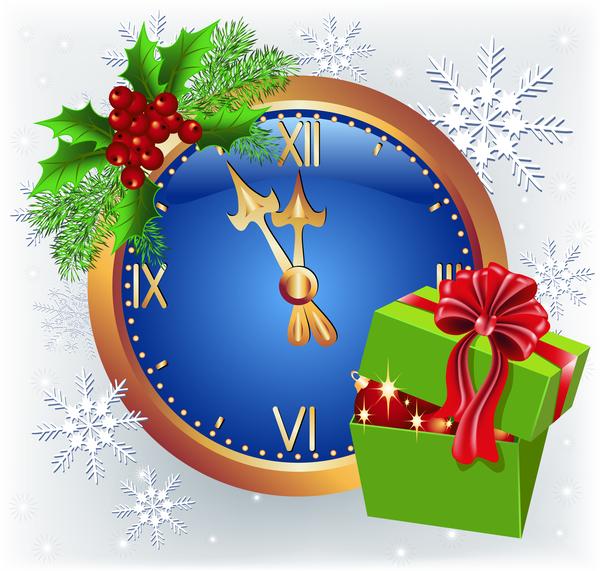 Weihnachten Uhr Karte greenting