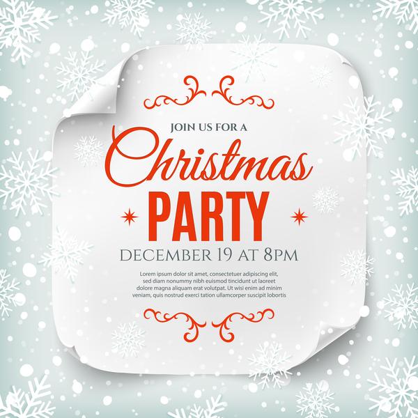 、クリスマス、パーティー、ポスター、雪