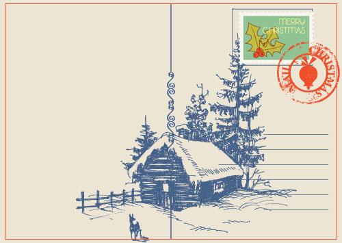 Retro teckensnitt postercard jul