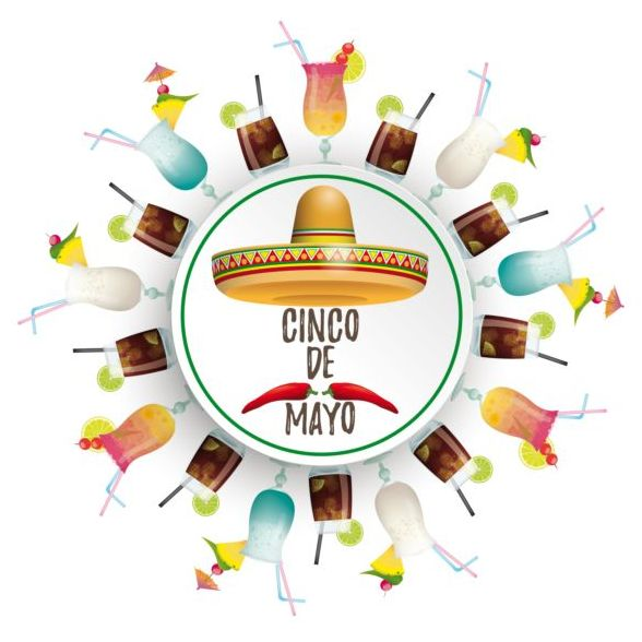 sombrero mayo Coctails circle cinco banner