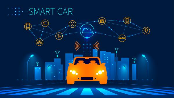 smart notte infografica Città auto