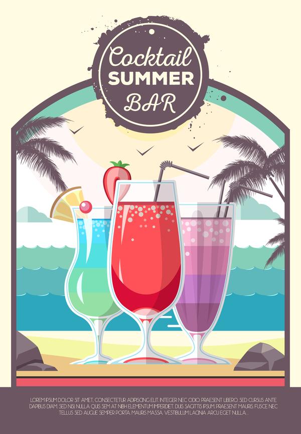 Sommer poster cocktail bar