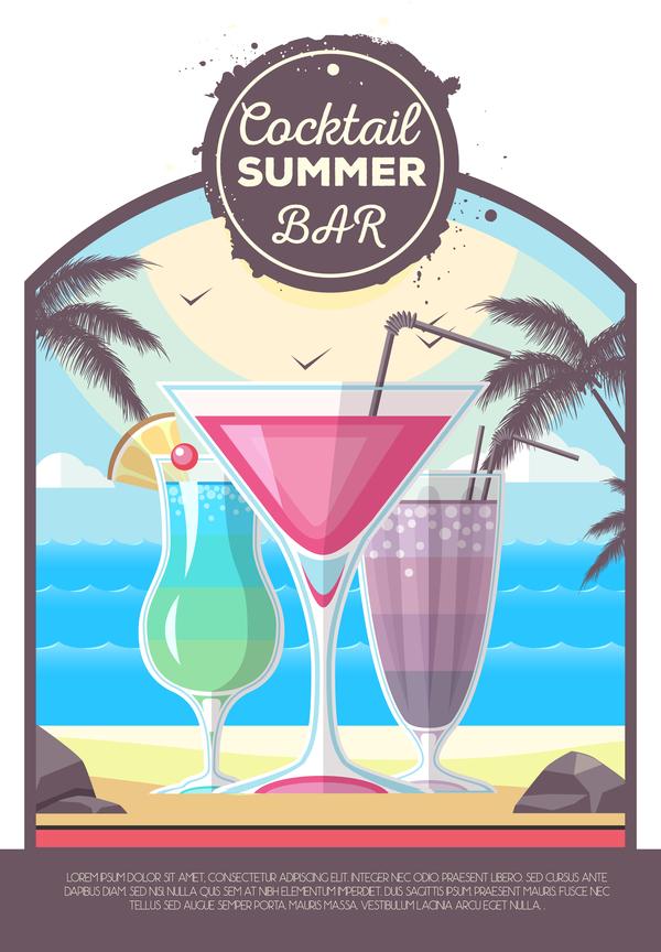 sommar cocktail bar affisch