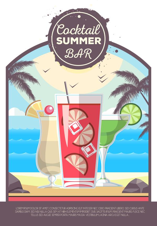 、バー、カクテル、ポスター、夏