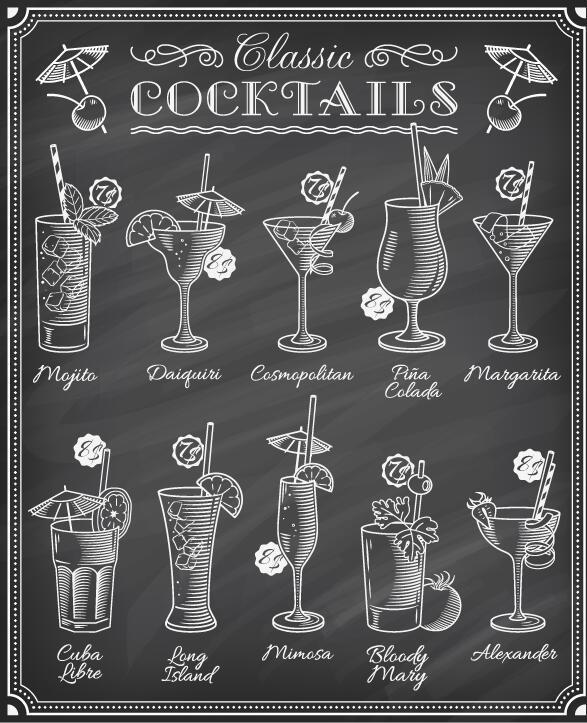 menu hand gezeichnet Cocktails
