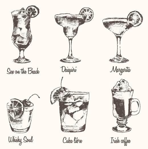 hand gezeichnet Cocktails