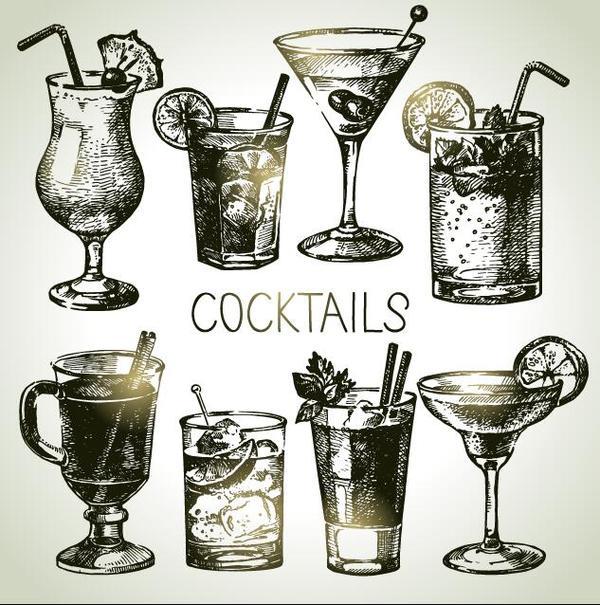 mano disegnata cocktail