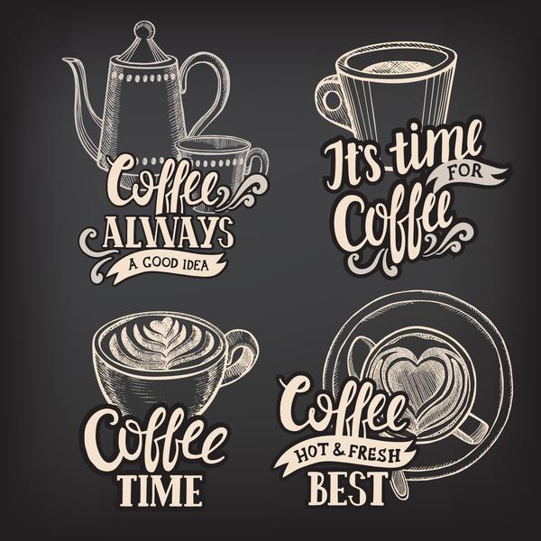 logotyper kaffe chalkboard