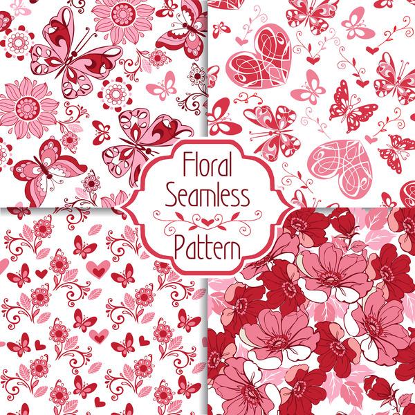 sans soudure pattern Papillons fleurs décoratif collection coeurs