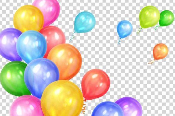 、色の風船、誕生日、