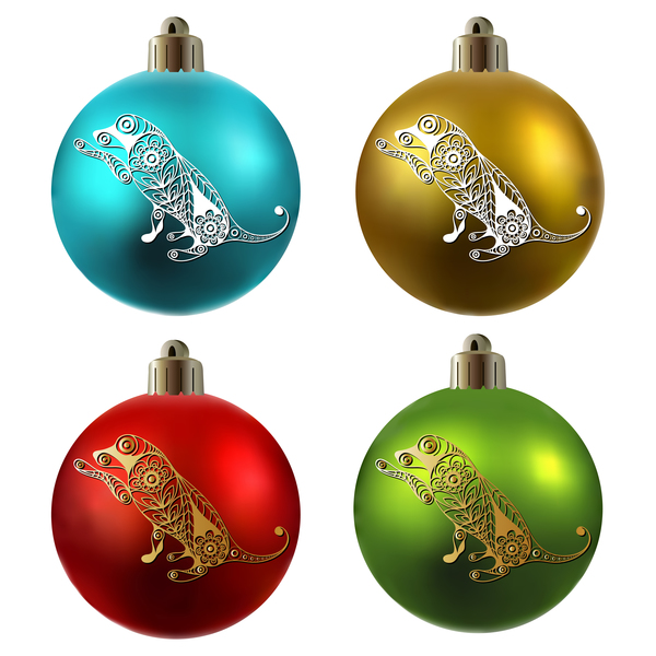 Weihnachten Kugeln Hund floral farbig
