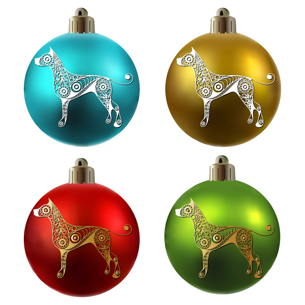 palle Natale colorato floreale cane