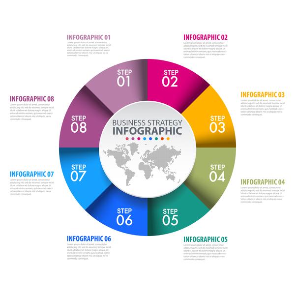 infografica colorato circle