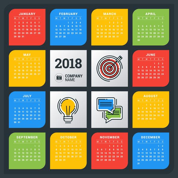 Kreativ Kalender farbig 2018