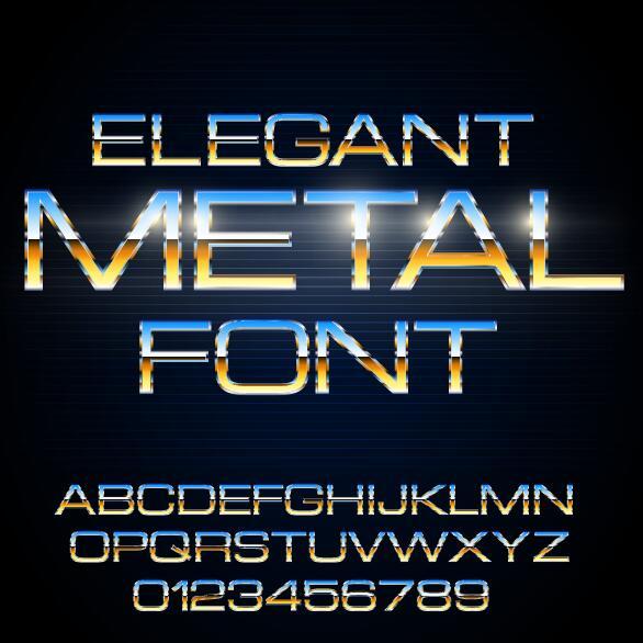 Metall färgade antal Alfabetet