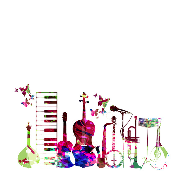 Papillons musique instruments colorful