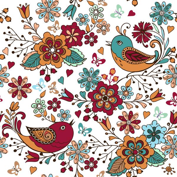Vogel nahtlose Muster Herzen bunt Blumen