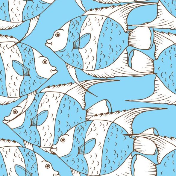 seamless pattern hand fish drawn coral