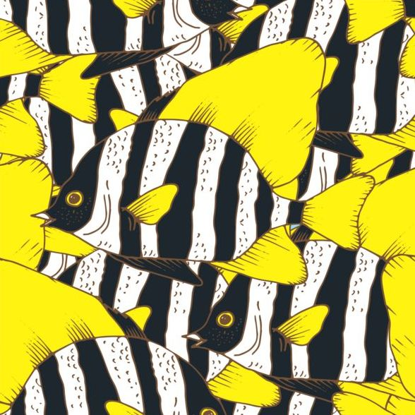 seamless pattern hand fish drawn coral