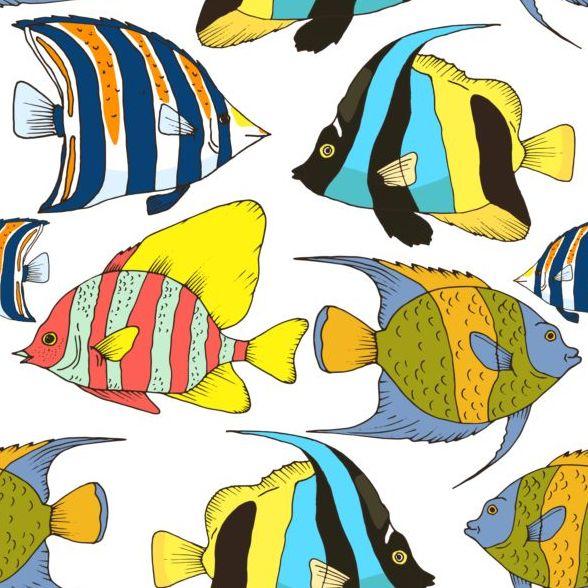 nahtlose Muster hand gezeichnet Fisch coral