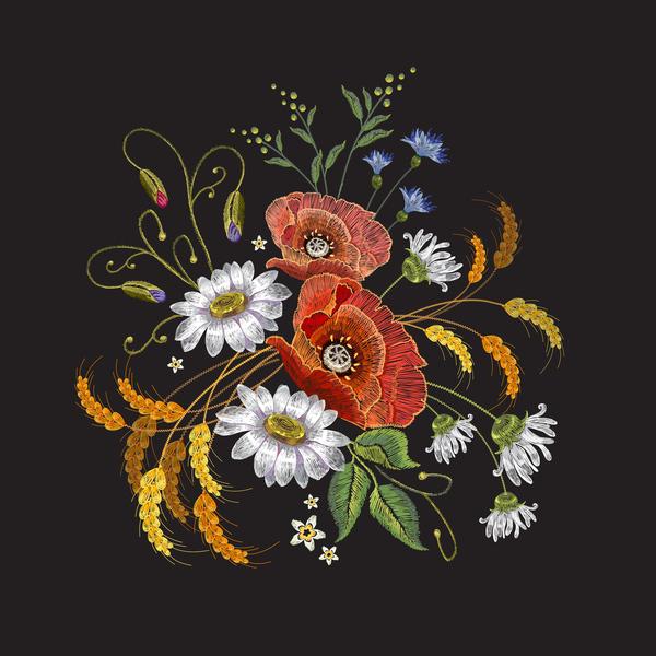 、創造的な、刺繍、花