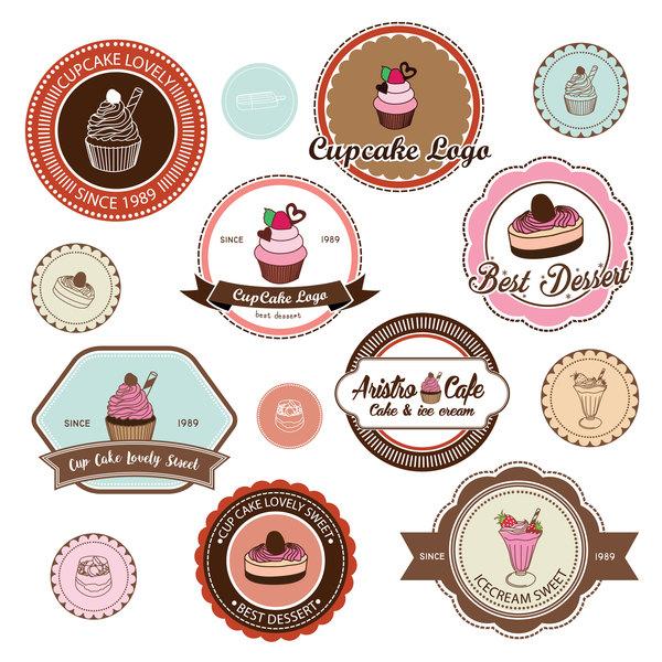 torta Tazza font retrò etichette distintivo