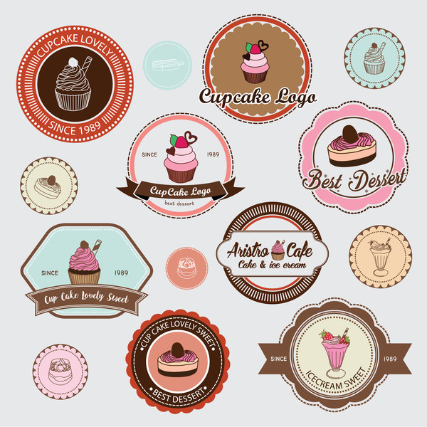 Tasse Retro-Schriftart Kuchen Etiketten Abzeichen
