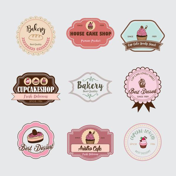 tårta Retro teckensnitt Marke etiketter cup