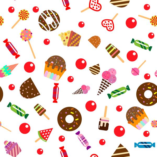 、お菓子、ケーキ、シームレスなパターン