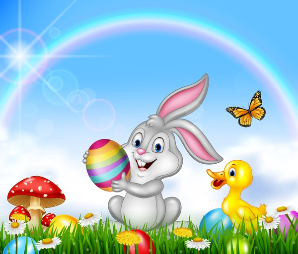 rainbow easter cute bunny