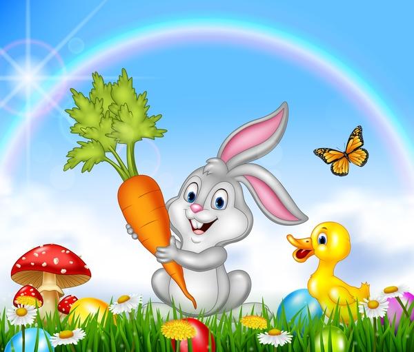 Pasqua Carina bunny arcobaleno