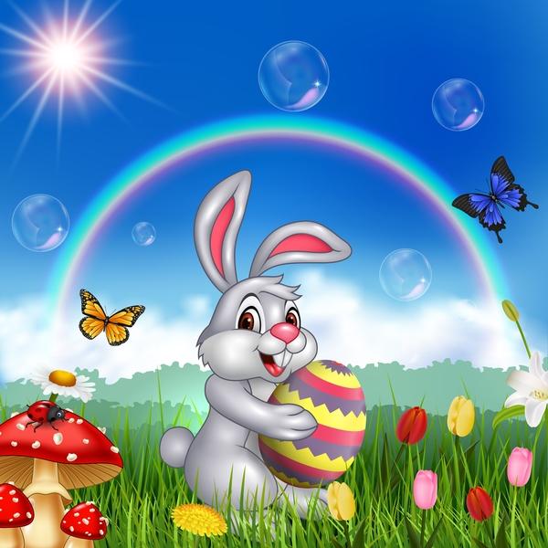 rainbow easter cute bunny