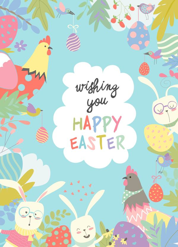 telaio Pasqua cartone animato carta carino animali