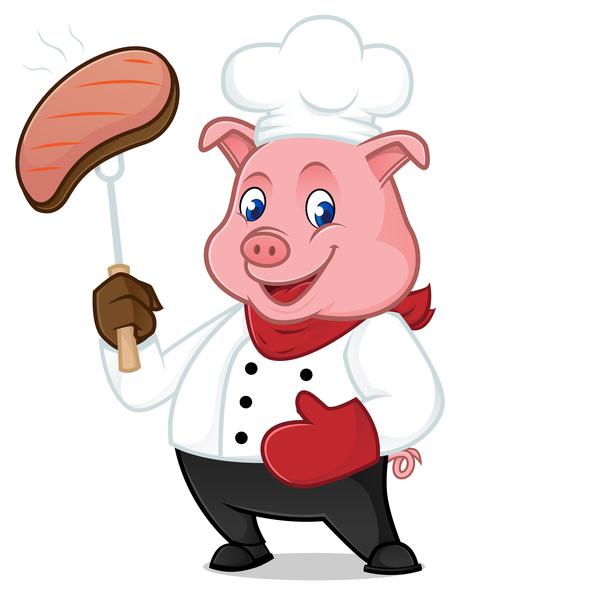 maiale fumetto cute chef