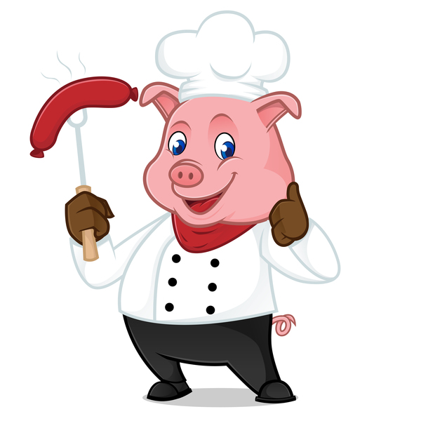 tecknad Söt Kock gris