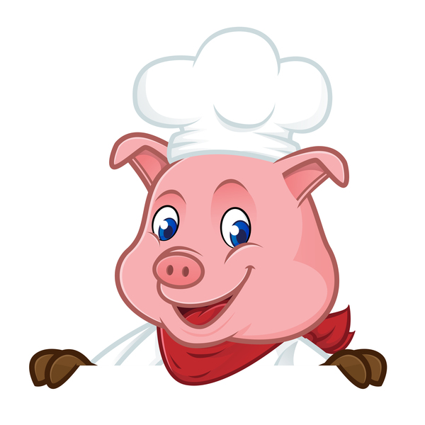 porc Mignon dessin animé chef