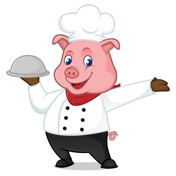 Schwein koch cute cartoon