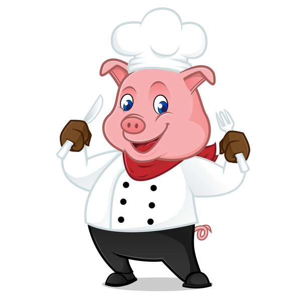 maiale fumetto cute chef