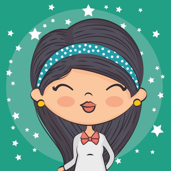 stelle ragazze cartone animato carino