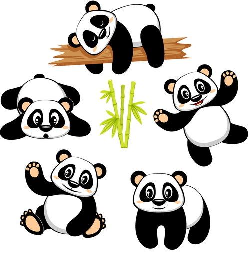 panda dessin animé cute