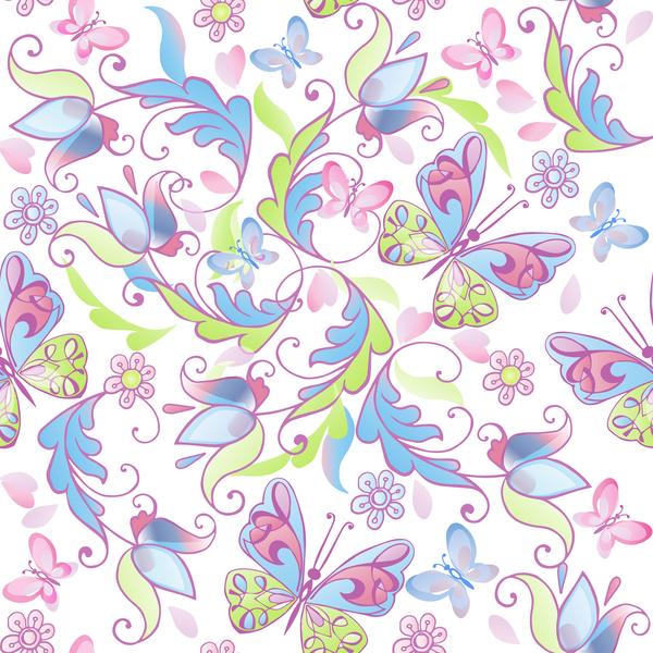 Söt sömlösa Rosa monster floral Fjärilar blå