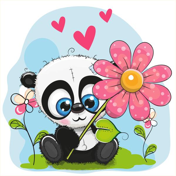 panda Fiore cartone animato carino